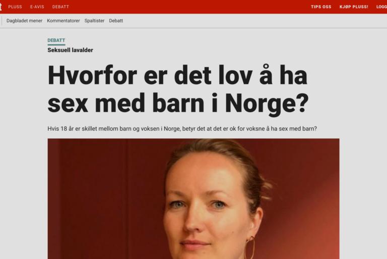 Hvorfor er det lov å ha sex med barn i Norge?