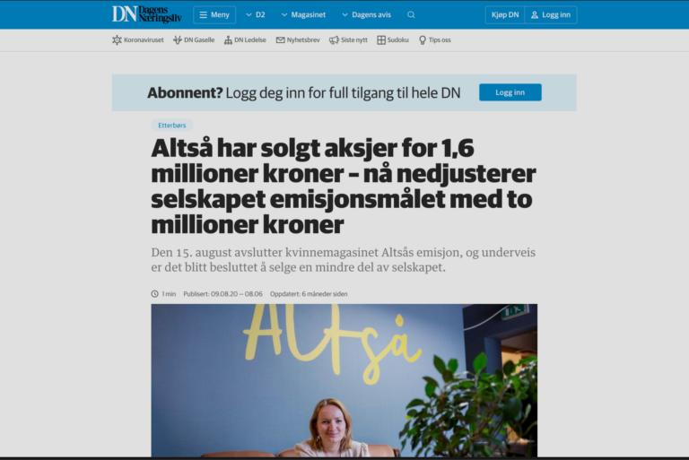 DN: ALTSÅ har solgt aksjer for 1,6M