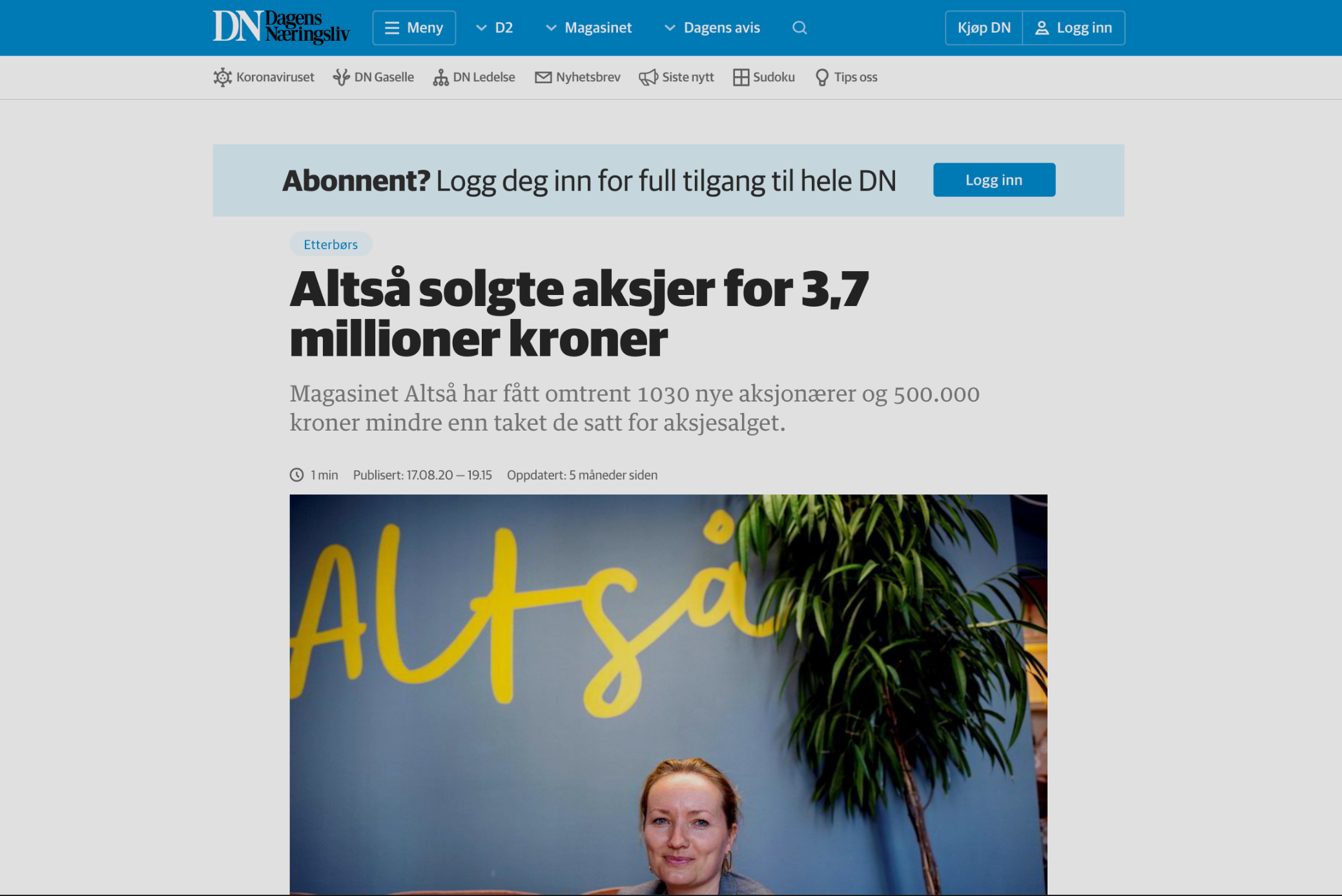 DN: ALTSÅ solgte aksjer for 3,7M