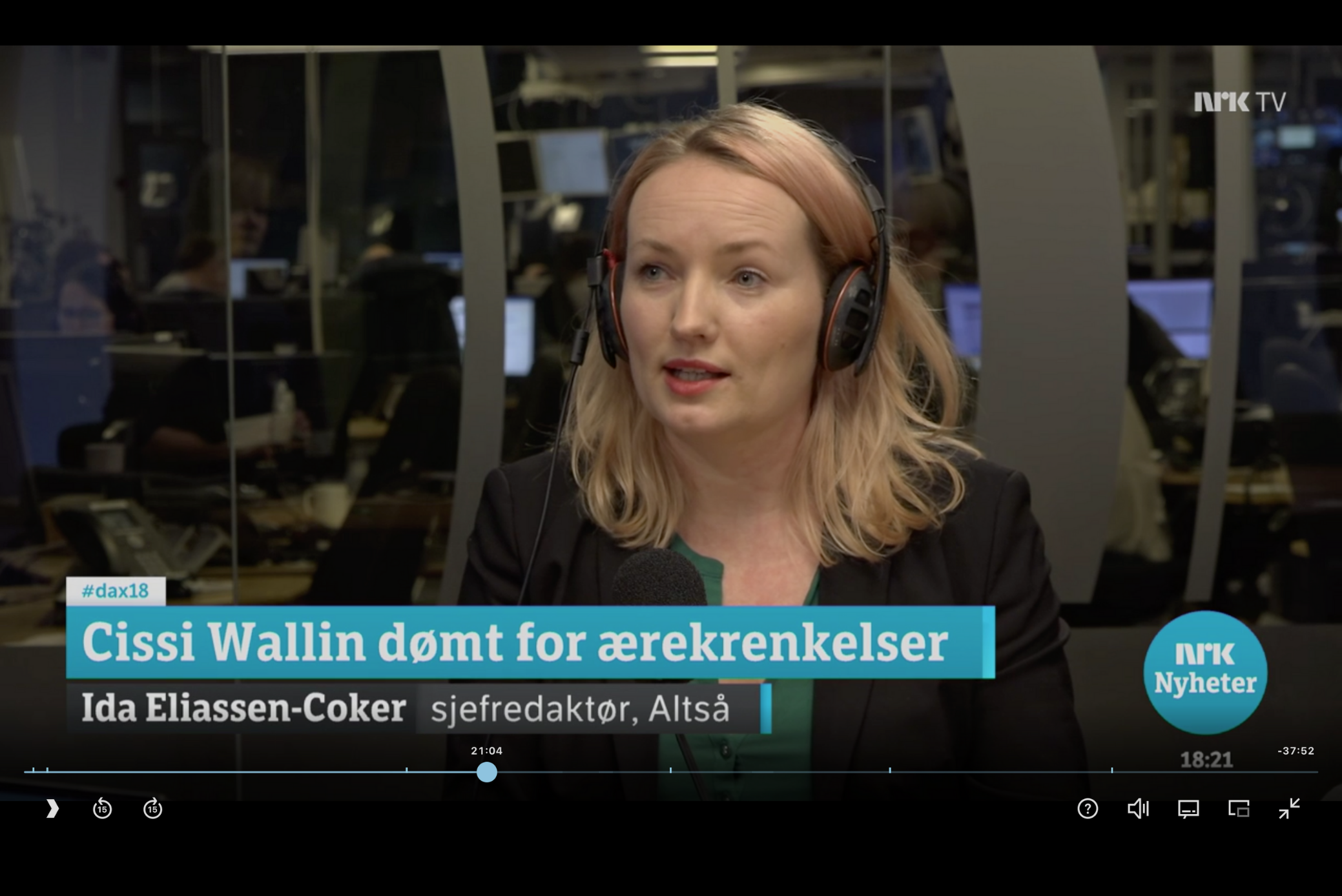 Dagsnytt 18: Cissi Wallin dømt for ærekrenkelser i Sverige