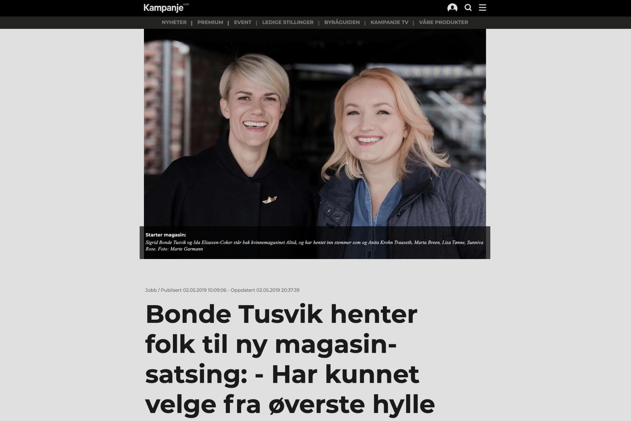 Bonde Tusvik henter folk til ny magasin-satsing: - Har kunnet velge fra øverste hylle