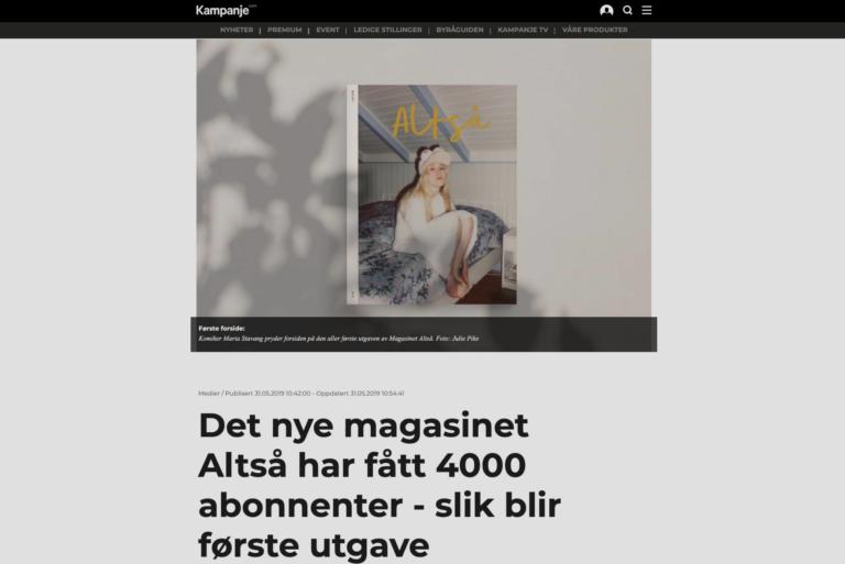 ALTSÅ har fått 4000 abonnenter