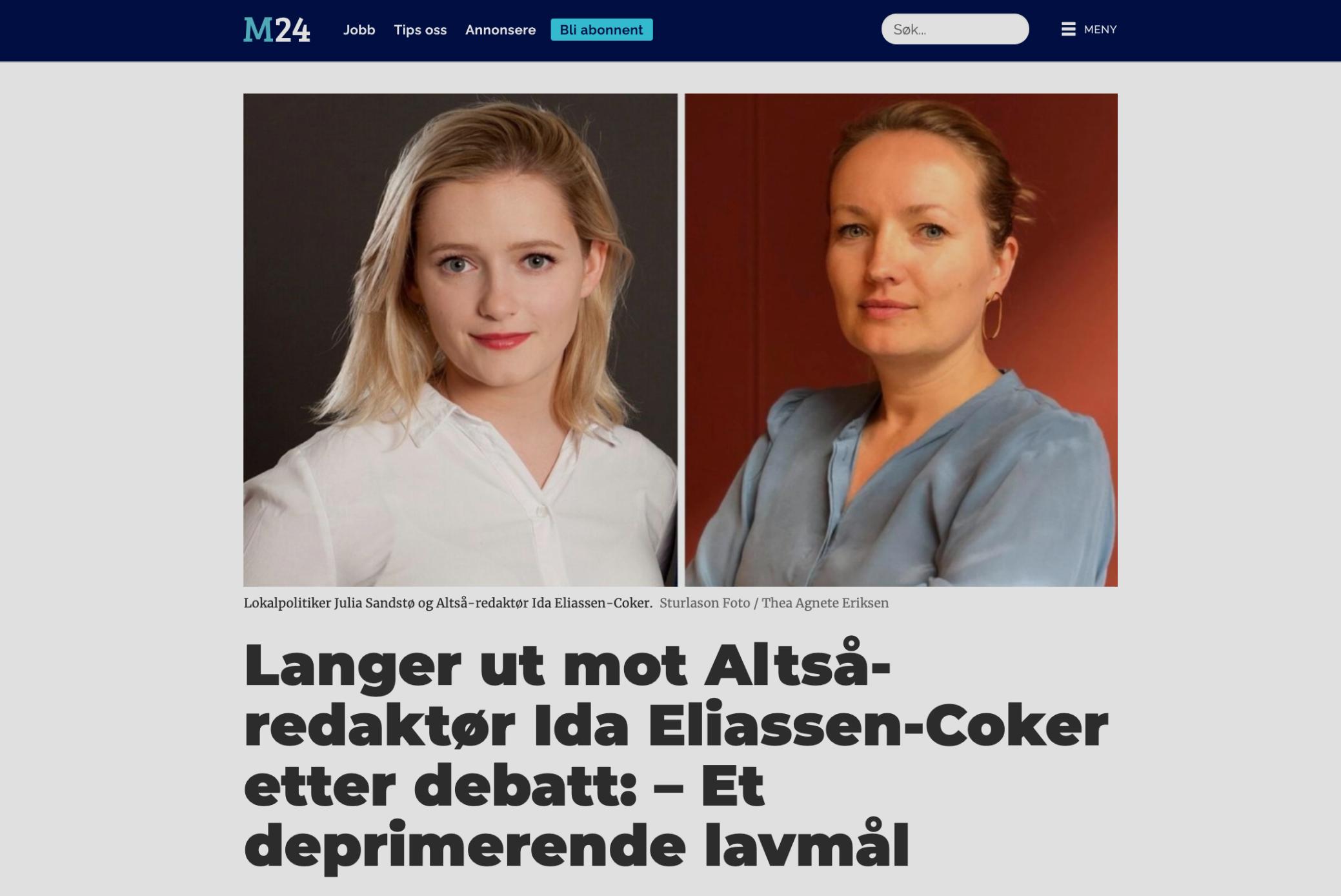 M24: Langer ut mot ALTSÅ-redaktør etter debatt