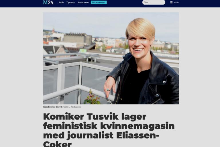 M24: Bonde Tusvik og Eliassen-Coker lager feministisk kvinnemagasin