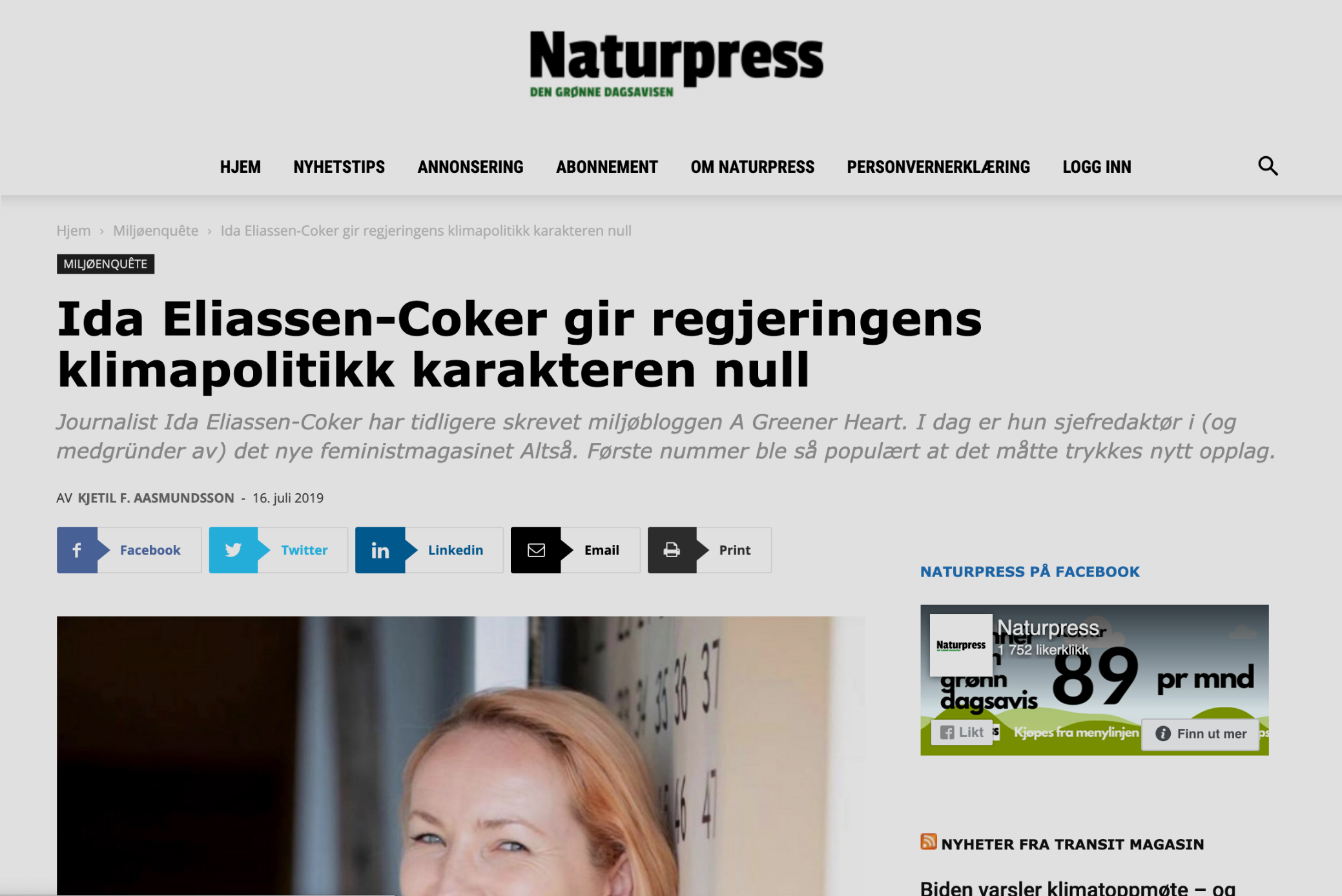 Ida Eliassen-Coker gir regjeringens klimapolitikk karakteren null
