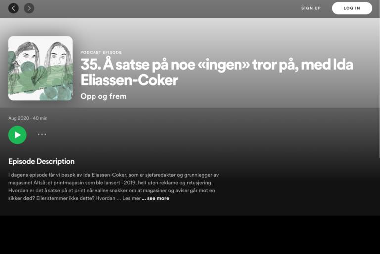 """Opp og frem podcast: Å satse på noe """"ingen"""" tror på, med Ida Eliassen-Coker"""